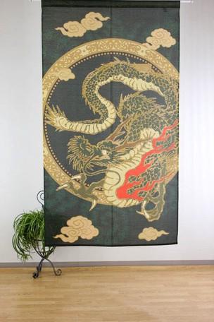 金色のラメ糸を織り込んだ、浮世絵のれん  金ラ...