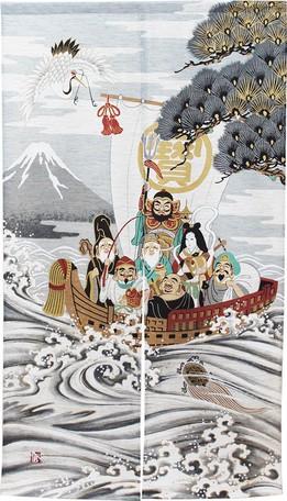のれん 85X150cm「鶴亀七福神(モヘア)」 日本製...