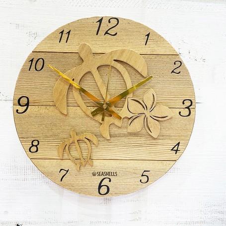 ハワイアンウッド時計 ホヌの木製壁掛け時計 ナチ...