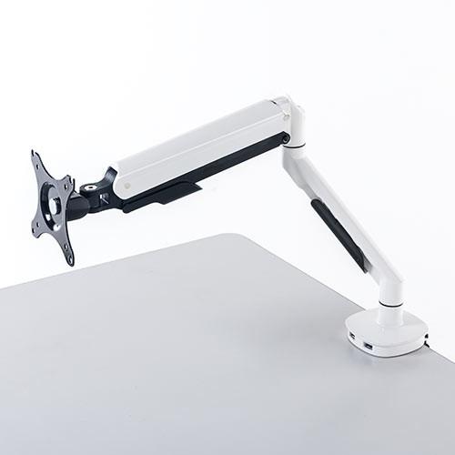 【送料無料】モニターアーム ガス圧タイプ USB3.0ポート×2 水平垂直3関節[100-LA046]