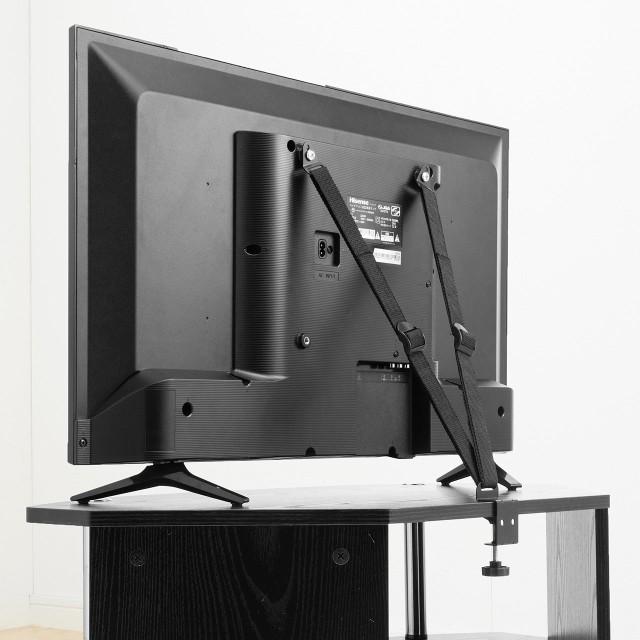 テレビ転倒防止ベルト VESA設置 クランプ 壁固定...