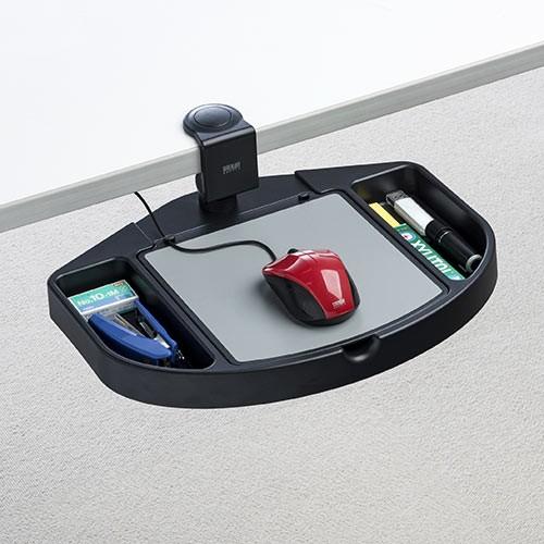 小物入れ付き マウステーブル 360度回転 クランプ式 硬質プラスチック マウスパッド[200-MPD023BK]