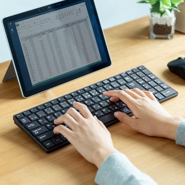 薄型 Bluetoothキーボード テンキー付き USB充電...