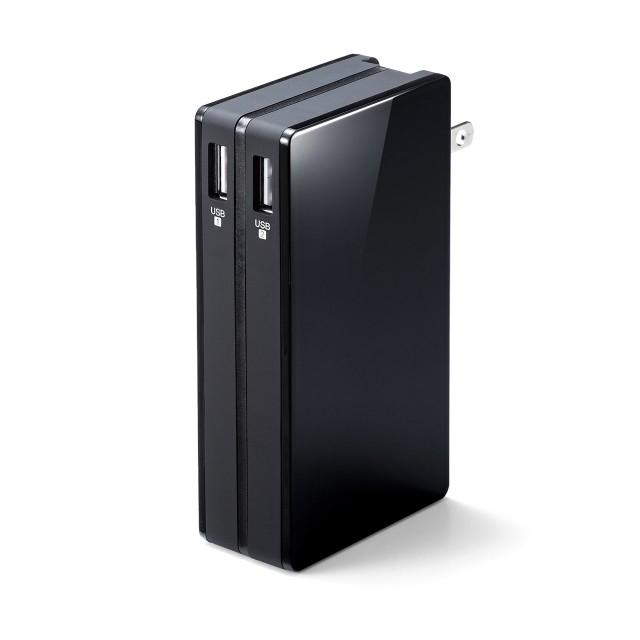ACプラグ内蔵 モバイルバッテリー 大容量 10,000m...