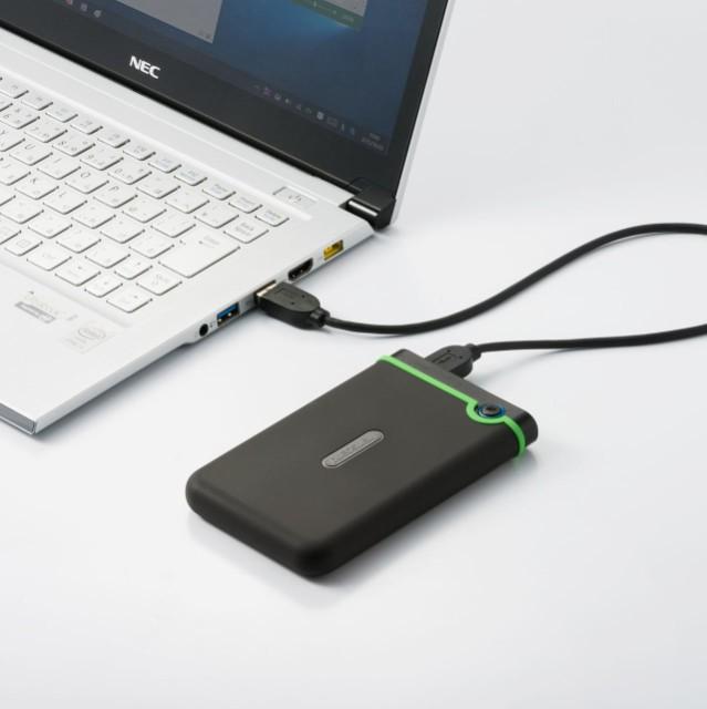 スリム 耐衝撃 ポータブルHDD 1TB USB3.1接続 ブ...