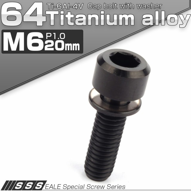 64チタンボルト M6 20mm P1.0 ワッシャー付き キ...