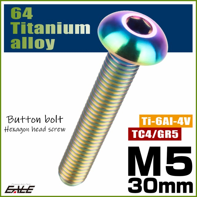 64チタン合金 M5×30mm P0.8 ボタンボルト 六角穴...
