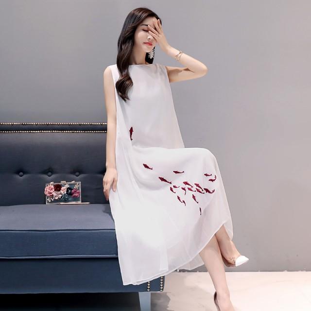 チャイナ 中国 刺繍ドレス 2018 ノースリーブ ベ...