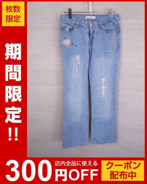 刺繍ブーツカットデニムパンツ/青//Aランク