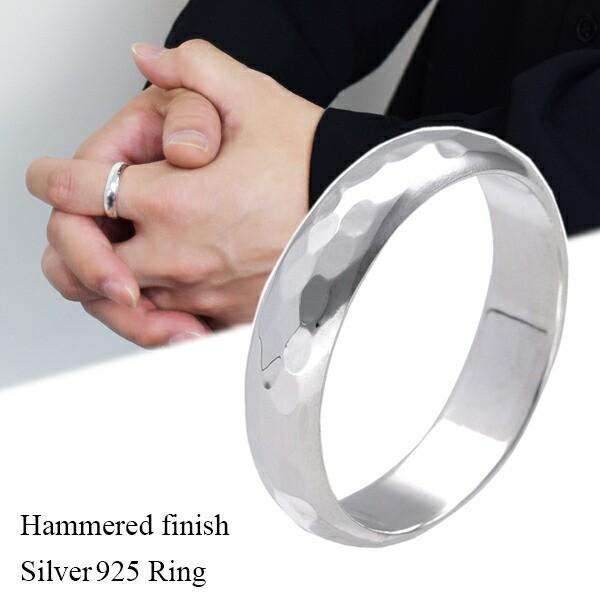 槌目 甲丸 シルバー リング 幅5mm 11〜31号 指輪 ...