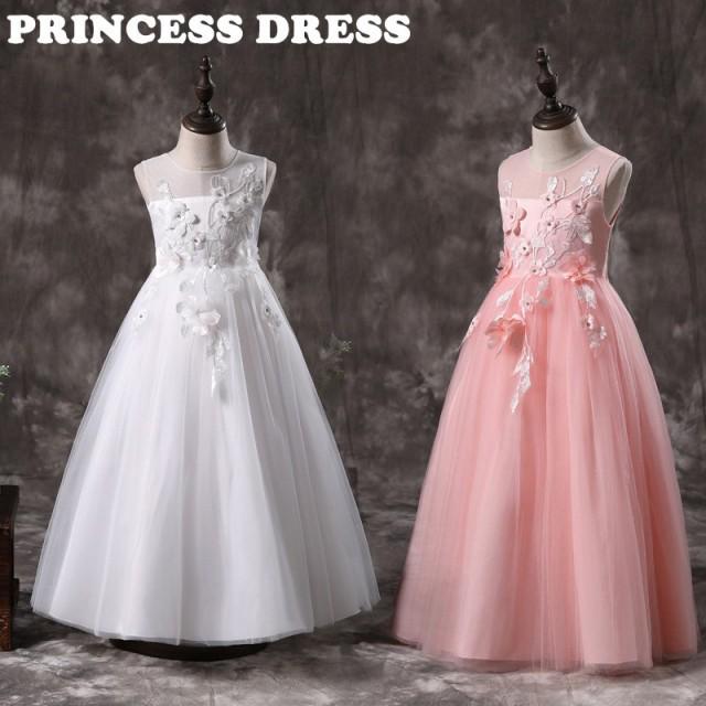 ホワイト/ピンク ピアノ発表會 ドレス 子供 セシ...