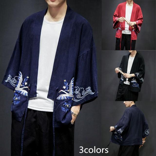 大人気麻綿コート 和服 甚平 和風 羽織 メンズ和...