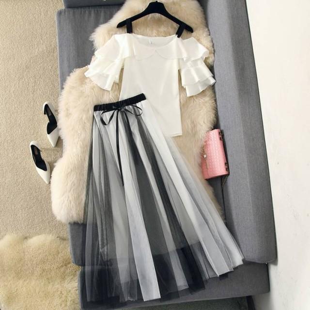 韓国 ファッション レディース セットアップ スカ...