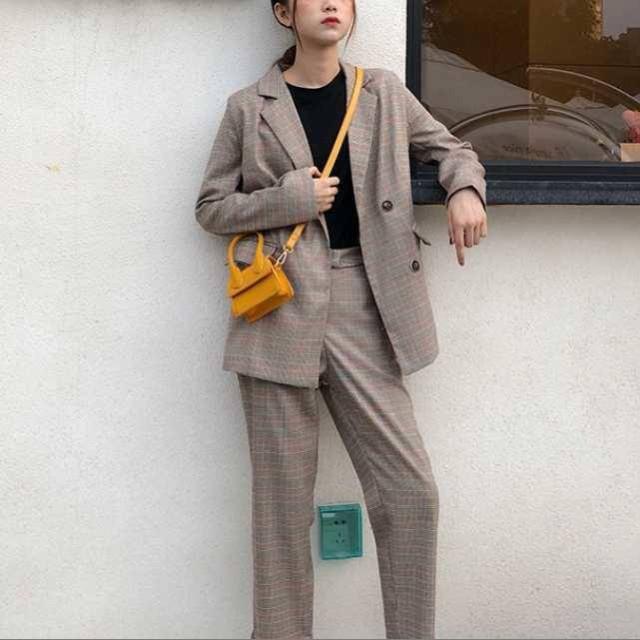 韓国 スーツ パンツスーツ チェック レディース ...