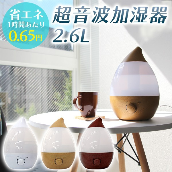 【2019年モデル】超音波加湿器 2.6L 卓上 LEDライ...