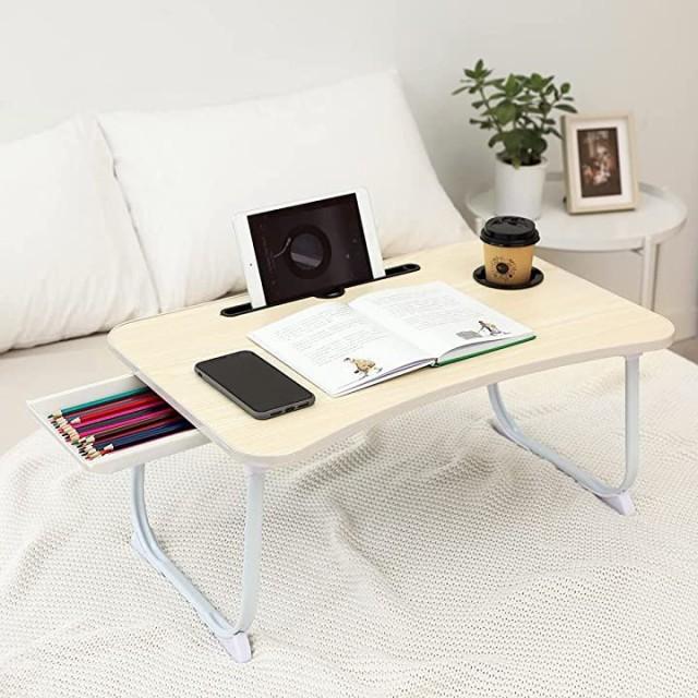 折りたたみテーブル ベッドテーブル 凹溝付き ラ...