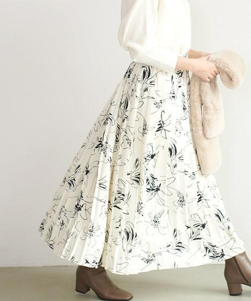 コカ/プリーツ花柄スカート 全2種