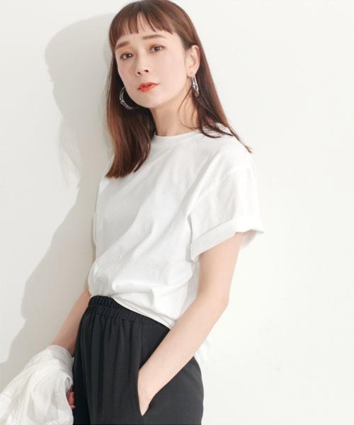 コカ/【シルキーコットン】クルーネック Tシャツ ...