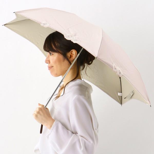 【NEW】ミラ・ショーン/日傘(折りたたみ3つ折り/晴雨兼用)【遮光&UV遮蔽率99%以上/遮熱】花オーガンジーカットワーク