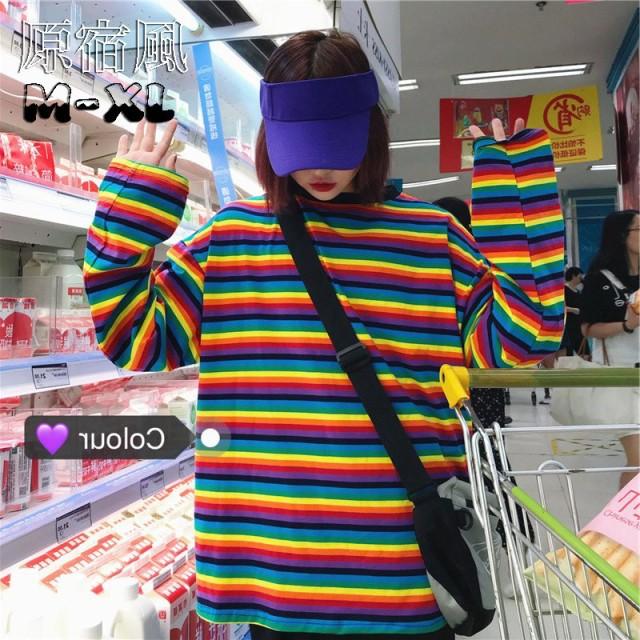 長袖Tシャツ レディース 横縞 カラーヒット 虹色 ...
