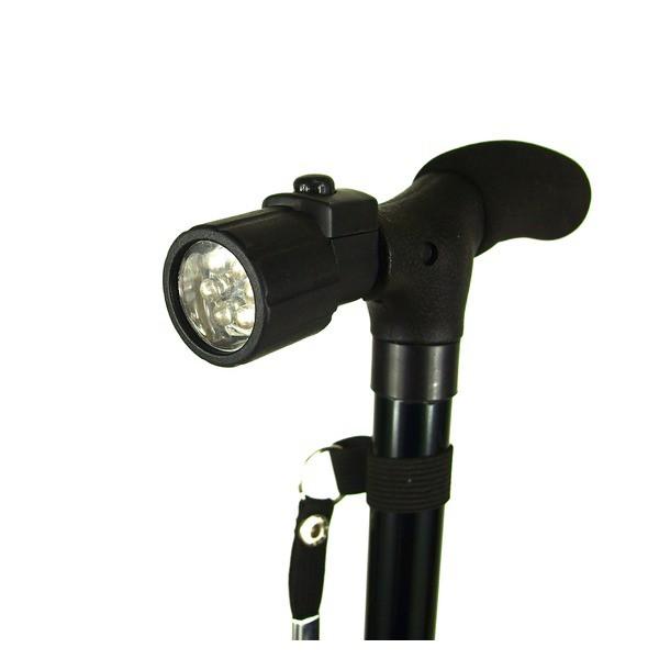 送料無料 LEDライト付き軽量杖 伸縮調整可能 歩行...