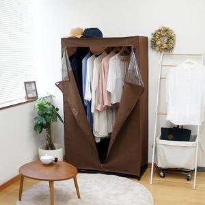 送料無料 カバー付きハンガーラック/衣類収納ケー...
