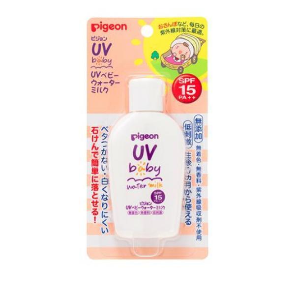 ピジョン(Pigeon) UVベビー ウォーターミルク SPF15 PA++ 60g 日焼け止め 赤ちゃん 敏感肌 乳液 無添加  ≪ポスト投函での配送≫