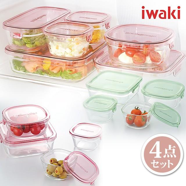 iwaki イワキ 耐熱 ガラス 保存容器 パック&レンジ 角型4点セット PSC-PRN4