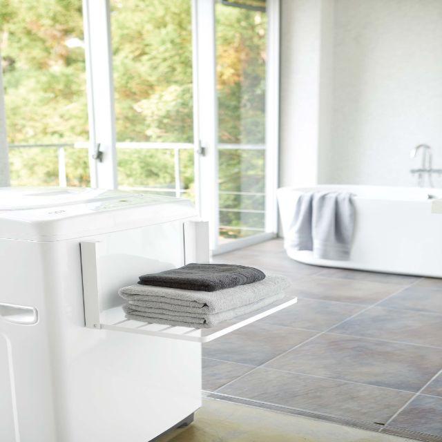 洗濯機横マグネット折り畳み棚 タワー ホワイト/WH 山崎実業