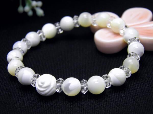 【薔薇ブレスレット】 数珠 ホワイトオニキス 天...