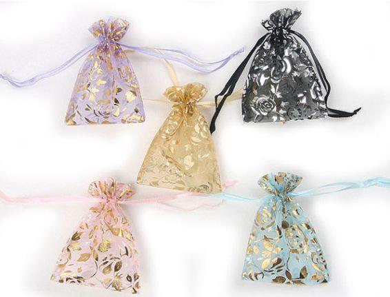 選べる5種類ポーチ テカテカサテンのカラフル巾着...