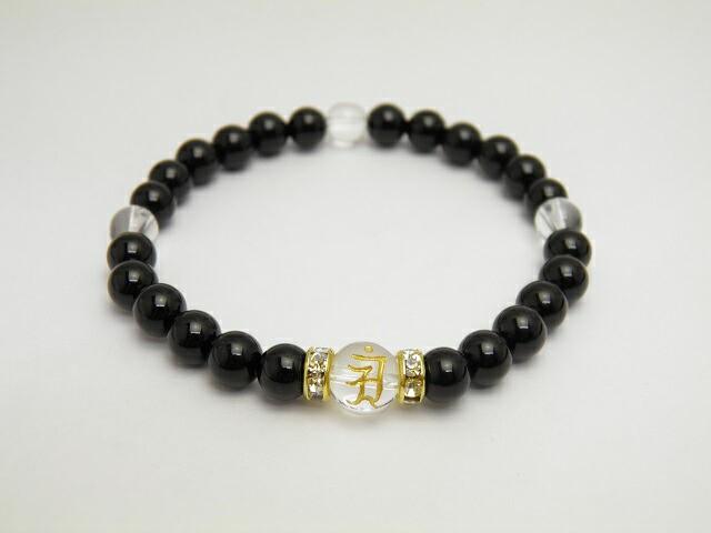水晶 金彫り 守護梵字 1ポイント オニキス ブレス...