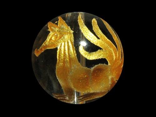 九尾の狐 手彫り玉 水晶(金色入り)12mm【彫刻 一...