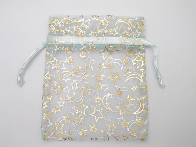 星と月柄オーガンジー透ける巾着袋(横:10cm縦:...