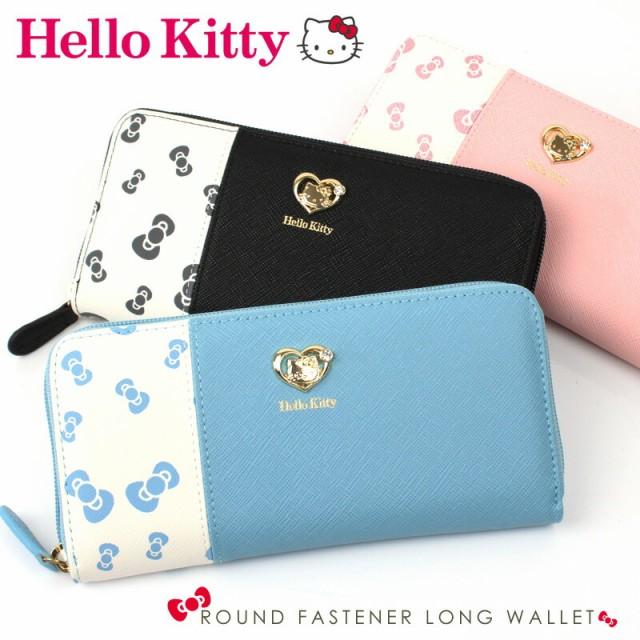 キティ 財布 Hello Kitty リボン柄 ラウンドファ...