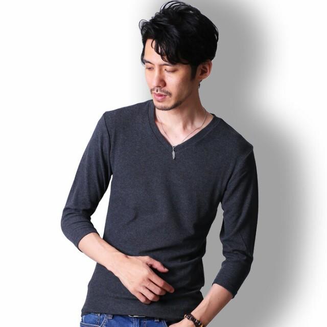 tシャツ メンズ 7分袖 Vネック カットソー おしゃ...