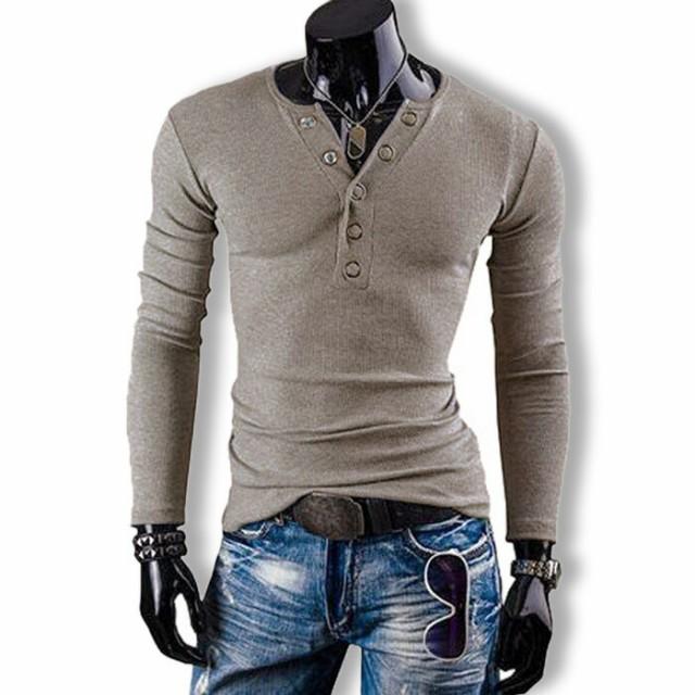 Tシャツ メンズ ヘンリーネック カットソー 長袖 ...