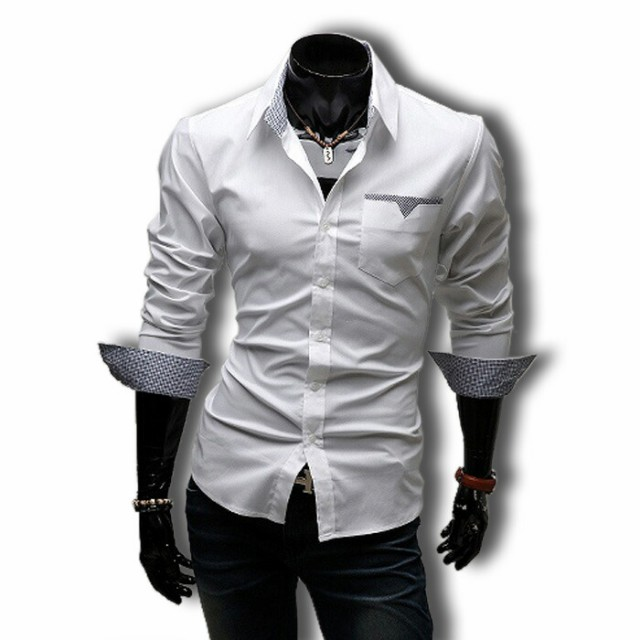 長袖シャツ メンズ カジュアル ワイシャツ ボタン...
