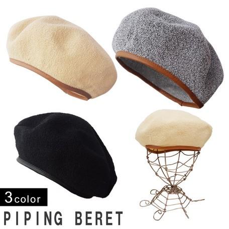ベレー帽 メンズ 小物 帽子 パイピング ベレー レ...