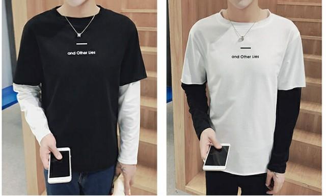 Tシャツ メンズ トップス フェイクレイヤード ク...
