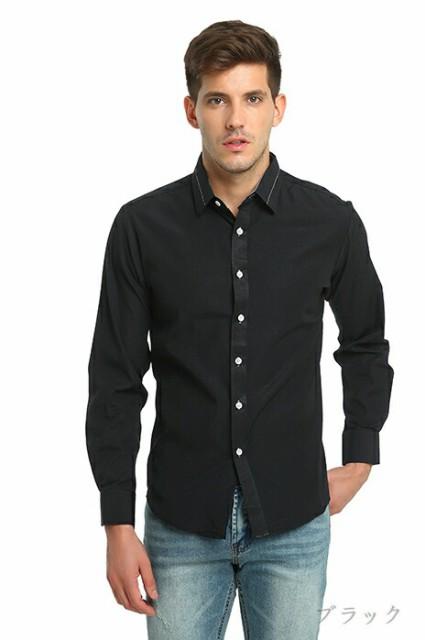 カジュアルシャツ メンズ トップス シンプル 無地...