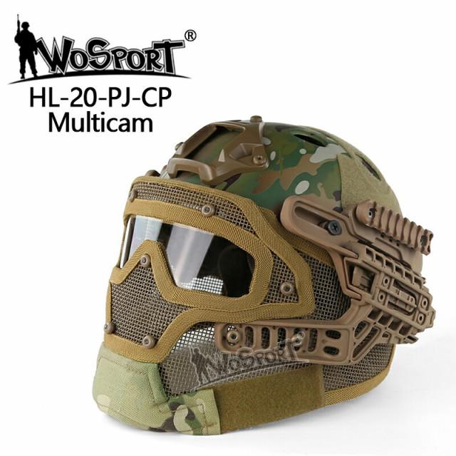 WoSporT タクティカルヘルメット メッシュマスク...