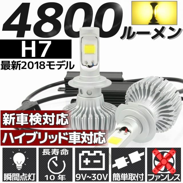 高輝度 4800lm COB LED ヘッドライト H7 3000K 2...