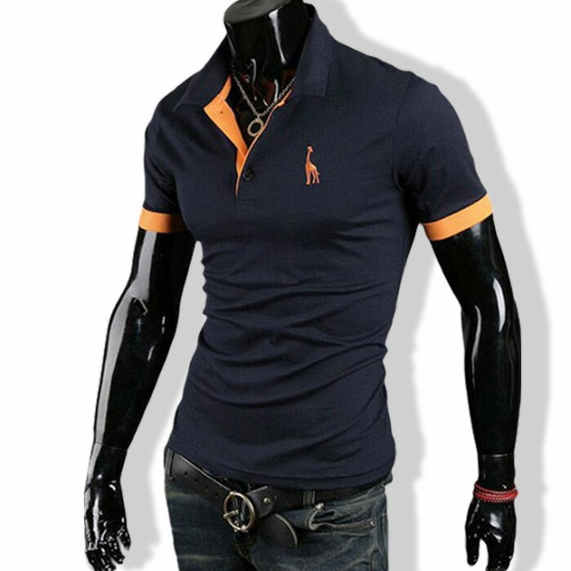 ポロシャツ メンズ tシャツ カットソー 半袖 胸刺...