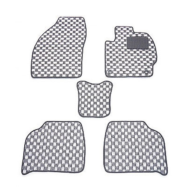 天野 AMANO ハリアー 年式:H26〜 (ハイブリット車) フロアマット一式 チェック [カラー:ブラック×ホワイト] 送料無料 カー用品