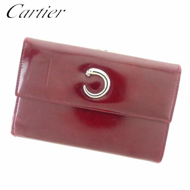 カルティエ Cartier 三つ折り 財布 がま口 レディ...