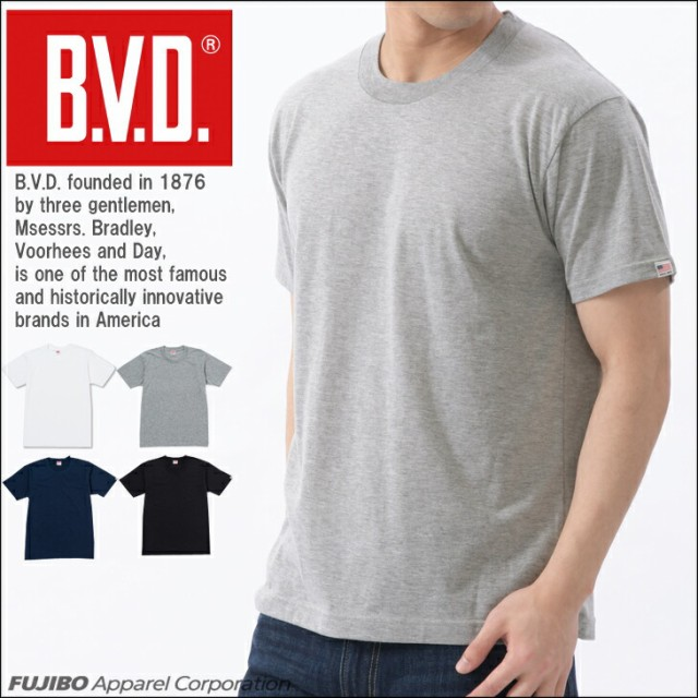B.V.D. 定番クルーネック半袖Tシャツ 無地 吸水速...