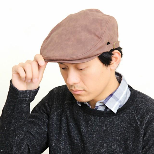 2個1000円引き/帽子/合皮シンプルハンチング/メン...