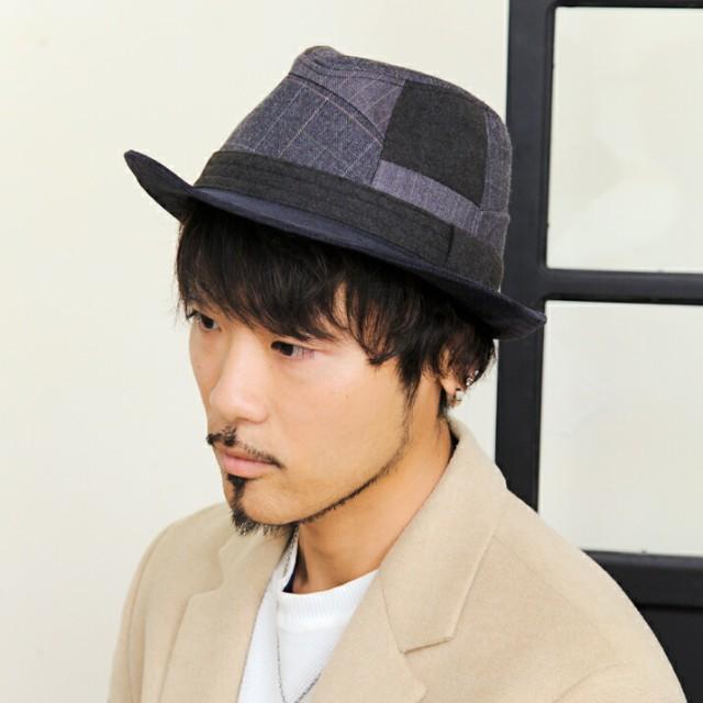 2個1000円引き/帽子/ストライプパッチワーク中折...