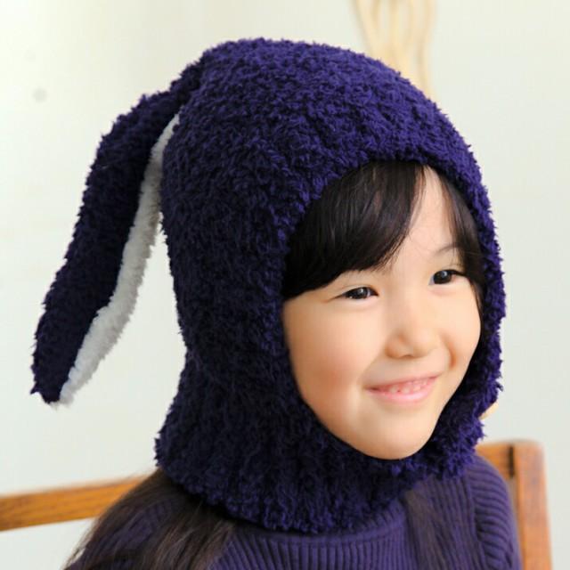 2個1000円引き/帽子/KIDSうさぎ風かぶりニット帽/...
